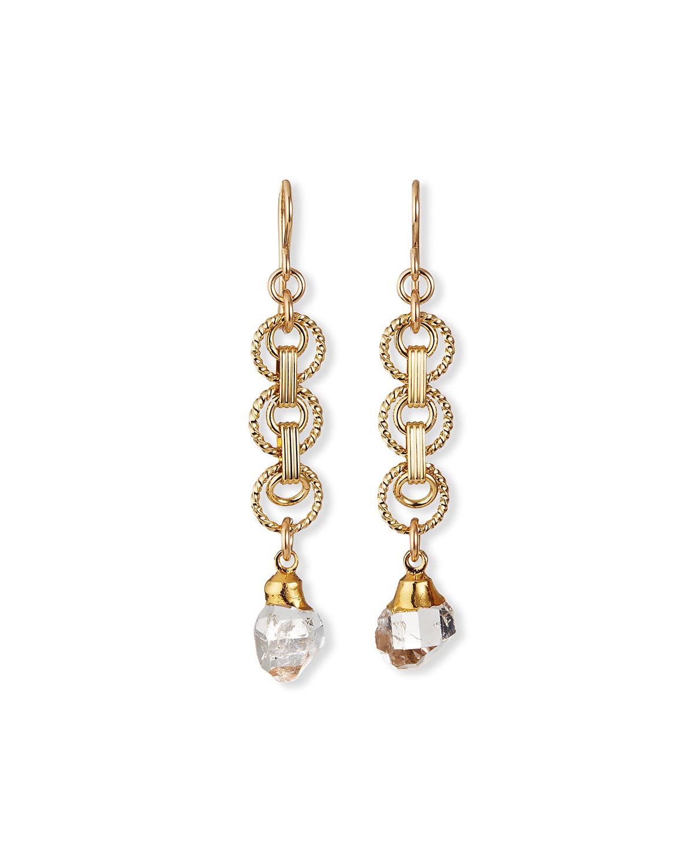 Herkimer Diamond Quartz in Gold Foil Dangle Earrings