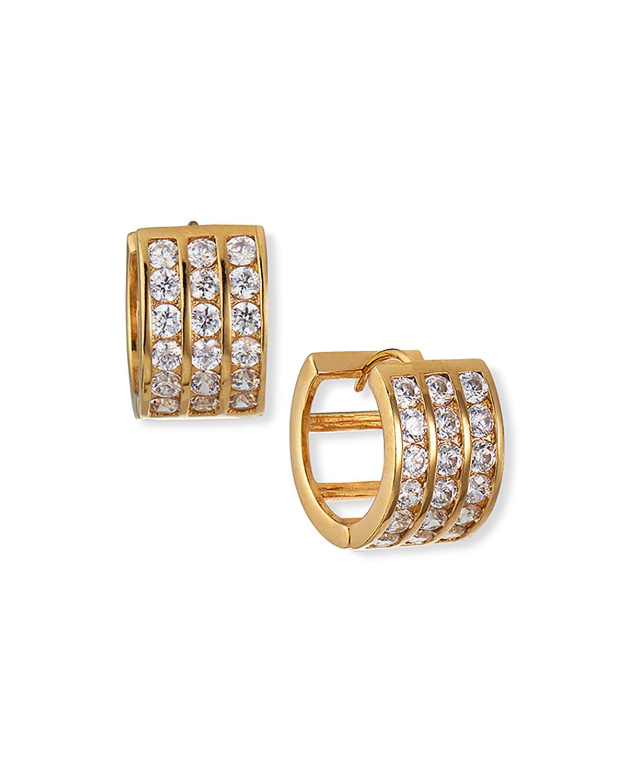 Diamond Illusion Gold-Plate Huggie Hoop Earrings
