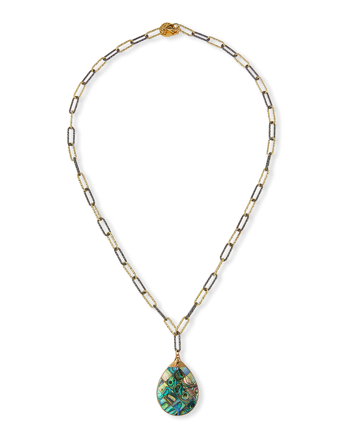 Abalone in Gold Foil Italian Two-Tone Chain Necklace