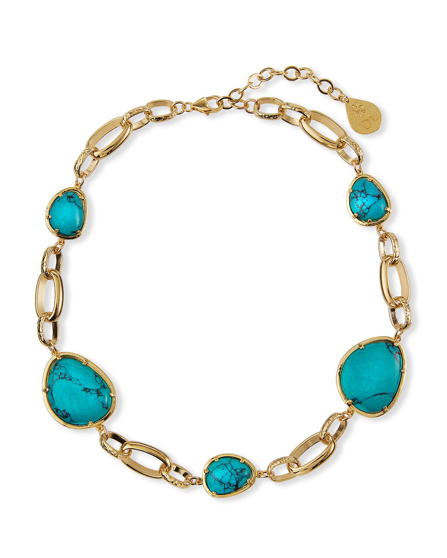 Turquoise-Hue Bezel Necklace