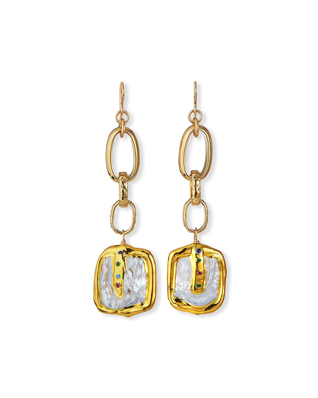 Freshwater Pearl Bezel Dangle Earrings