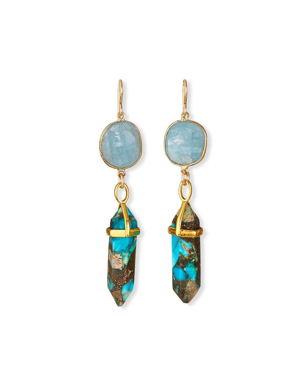 Imperial Jasper & Aquamarine Drop Earrings