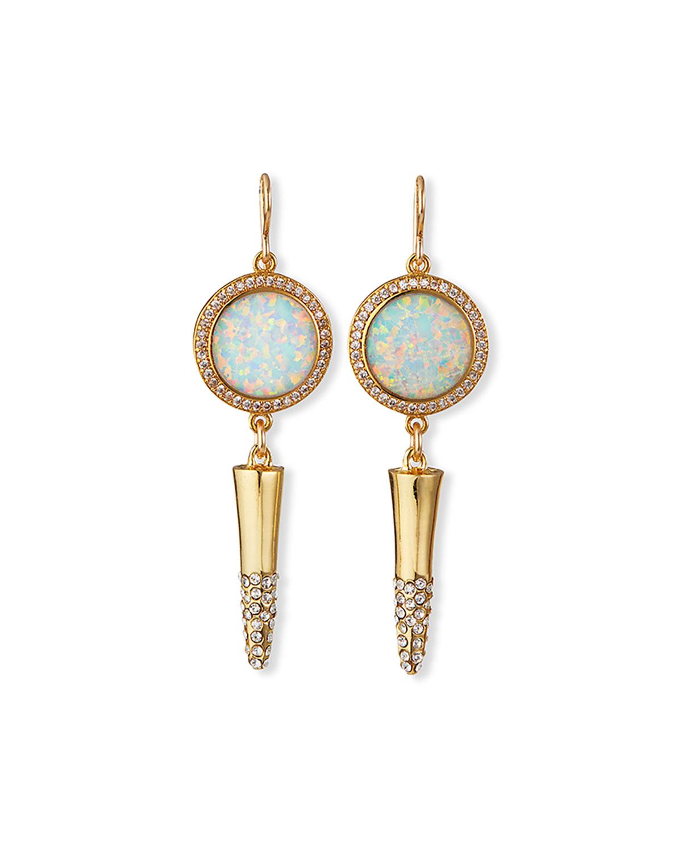 Moonstone Bezel Diamond Illusion Gold-Plate Cone Earrings