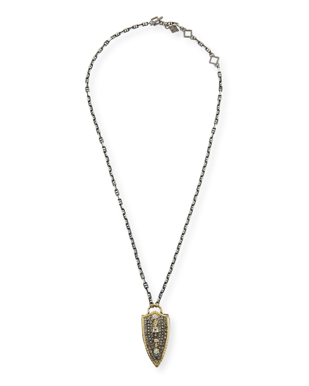 Armenta OLD WORLD 18K POINTED DIAMOND SHIELD NECKLACE
