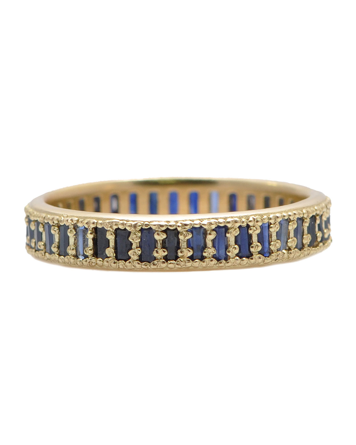 Armenta SUENO 18K GOLD WIDE CHANNEL SET SAPPHIRE BAGUETTE STACK RING