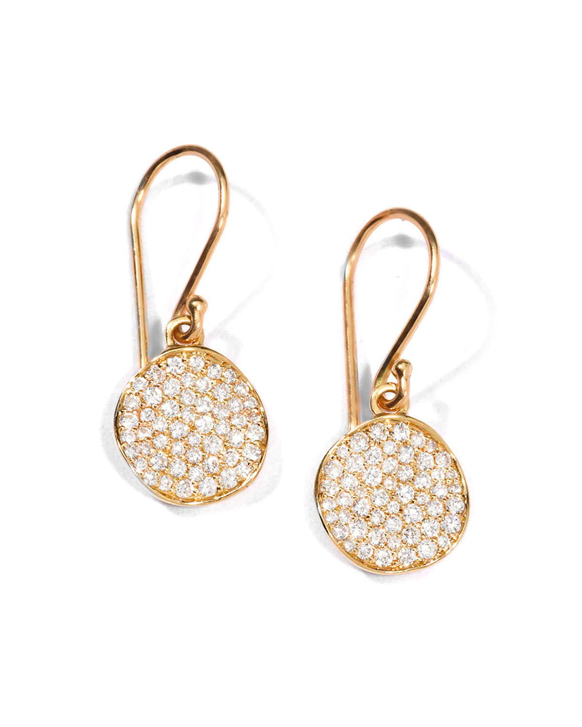 Ippolita 18K GOLD STARDUST HAMMERED DISC DROP EARRINGS WITH DIAMONDS