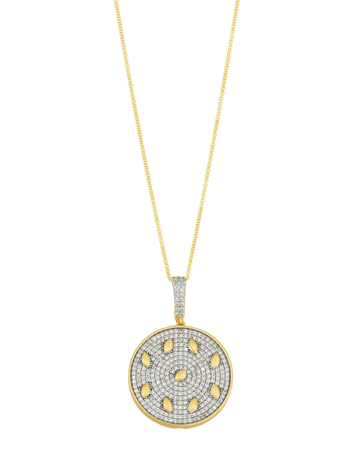 Freida Rothman PETALS AND PAVE DOUBLE STRAND PENDANT NECKLACE