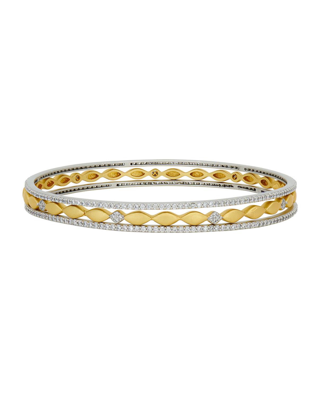 Freida Rothman Bracelets PETALS AND PAVE 3-STACK BANGLE BRACELET SET