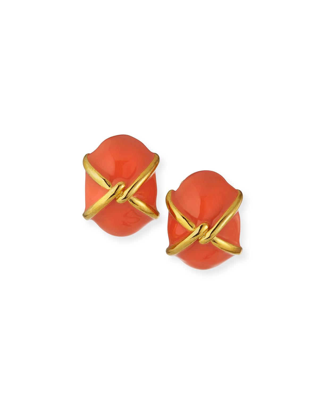 Enamel Clip Earrings