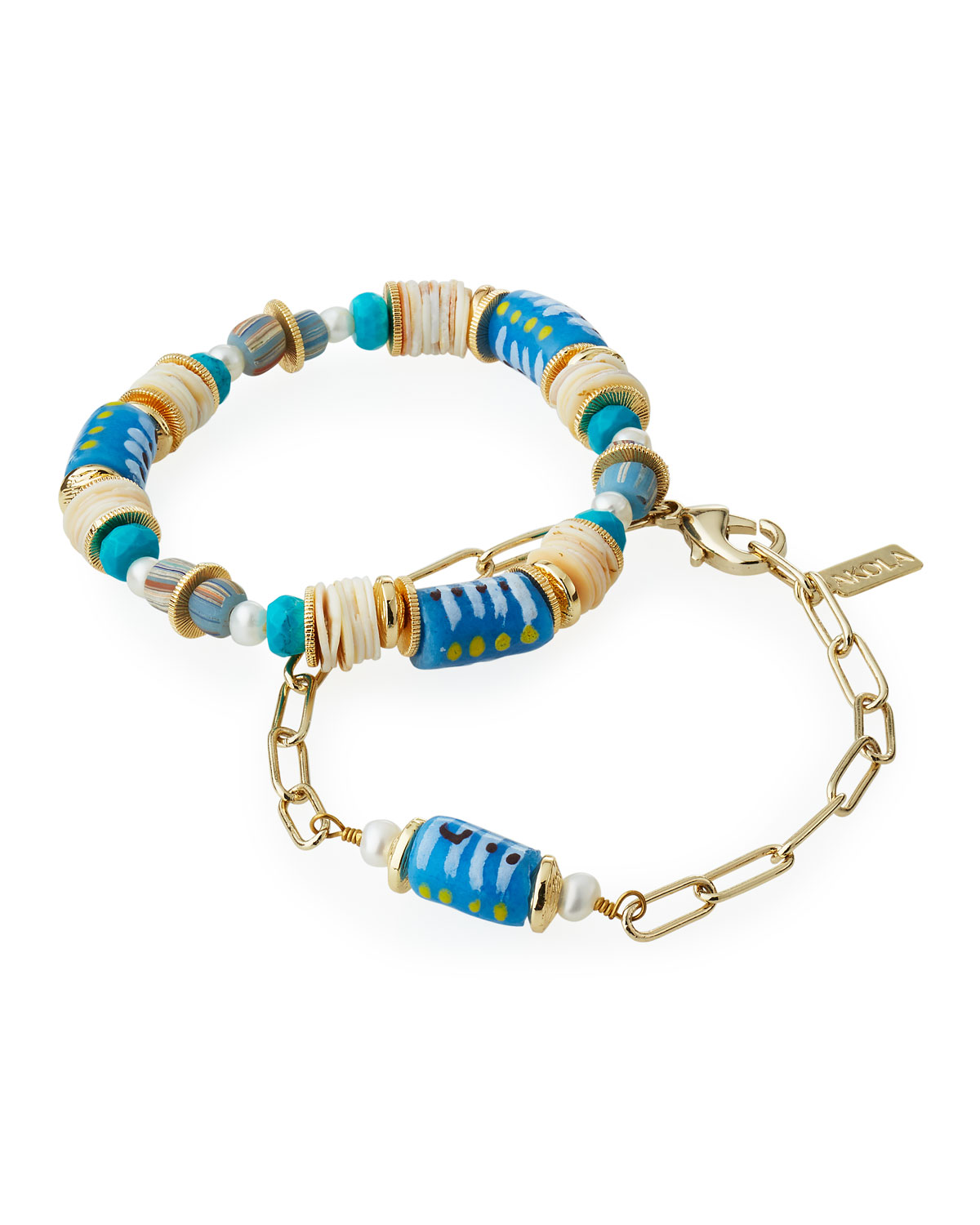 Lori Beaded Stretch Bracelets with White Pearl and Turquoise-Dyed Howlite