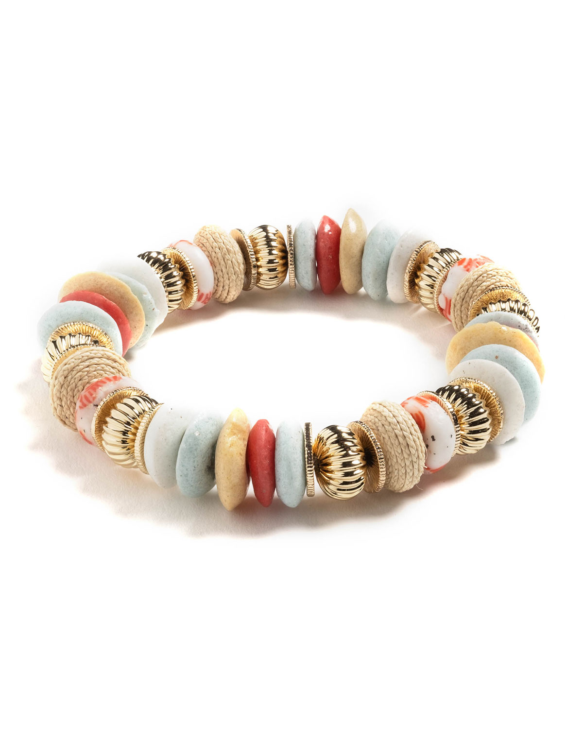 Lucia Beaded Stretch Bracelet with Multicolor Glass & Woven Raffia