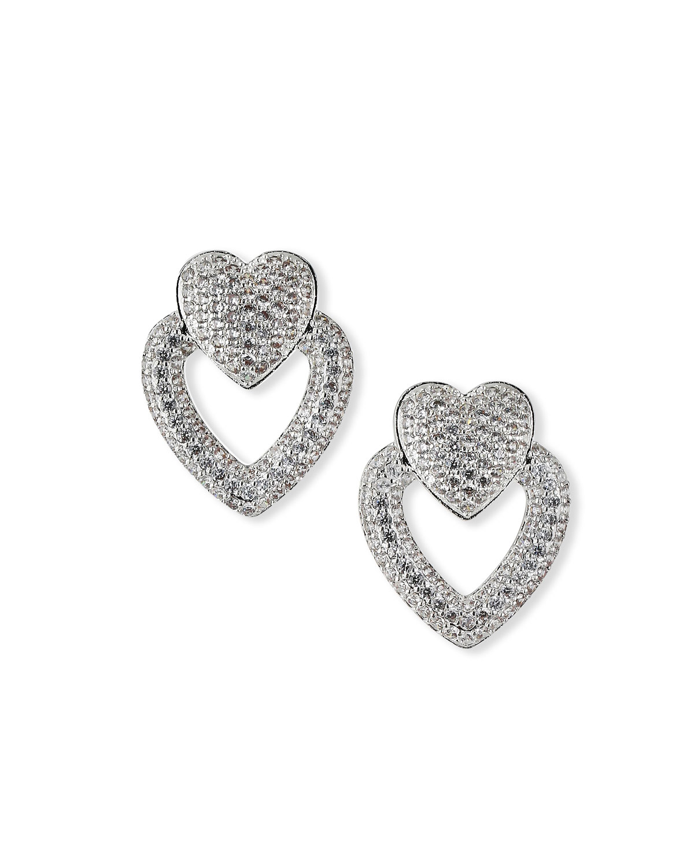 Pave Heart Door Knocker Hoop Earrings