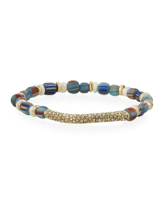 Ezra Beaded Stretch Bracelet with Swarovski Crystal Pave and White Pearl