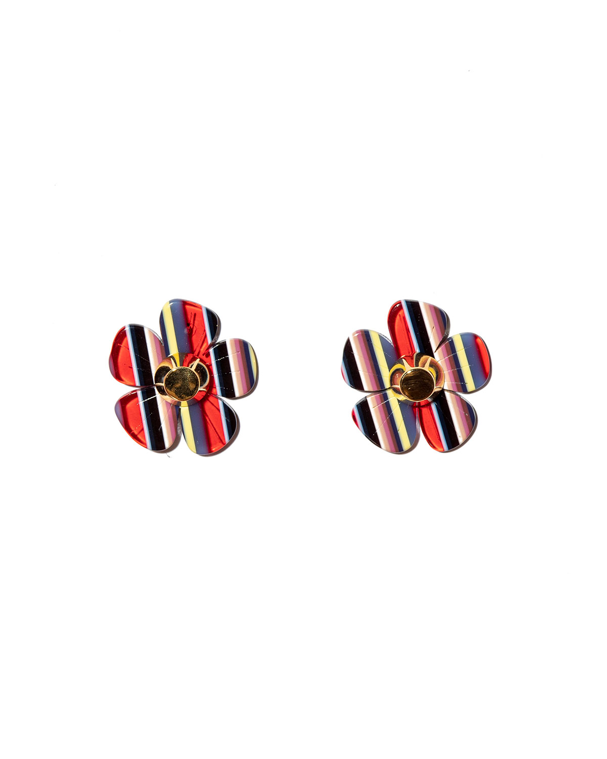 Striped Multicolor Acetate Cherry Blossom Button Earrings