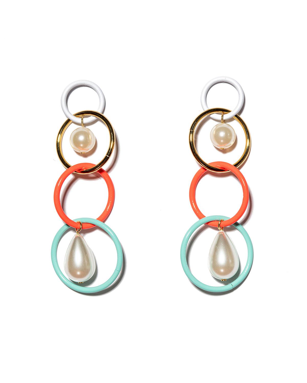 Teardrop Linear Pearly Drop Earrings