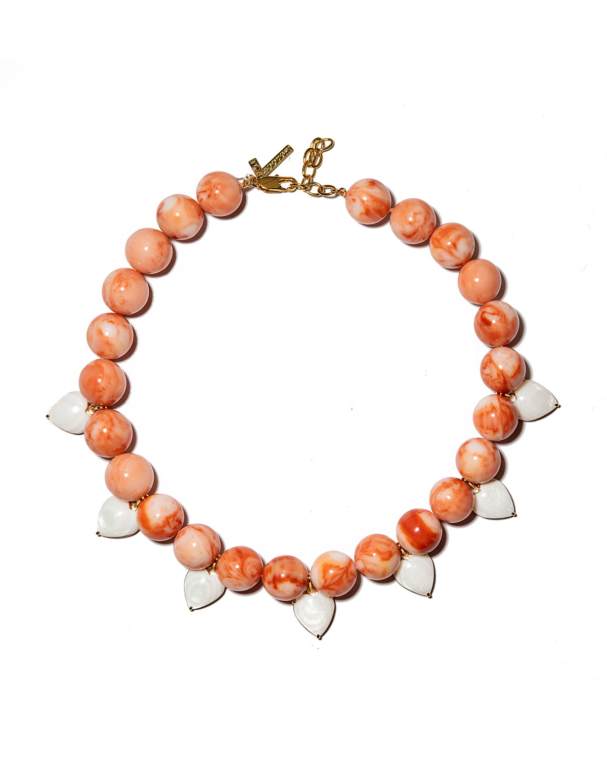 Heart Charm Country Club Mother-of-Pearl Beaded Necklace