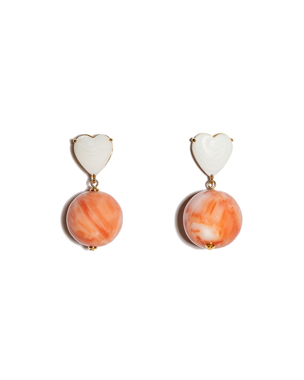 Half-Court Heart Mother-of-Pearl Drop Earrings
