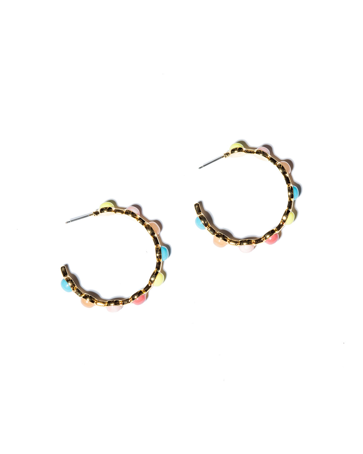 Lele Sadoughi CABOCHON HOOP EARRINGS