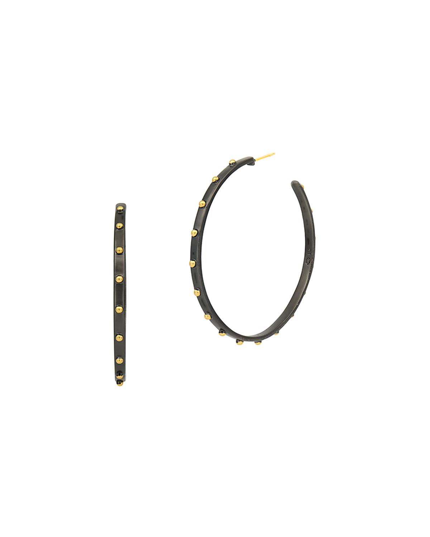 14k Plated Button Hoop Earrings