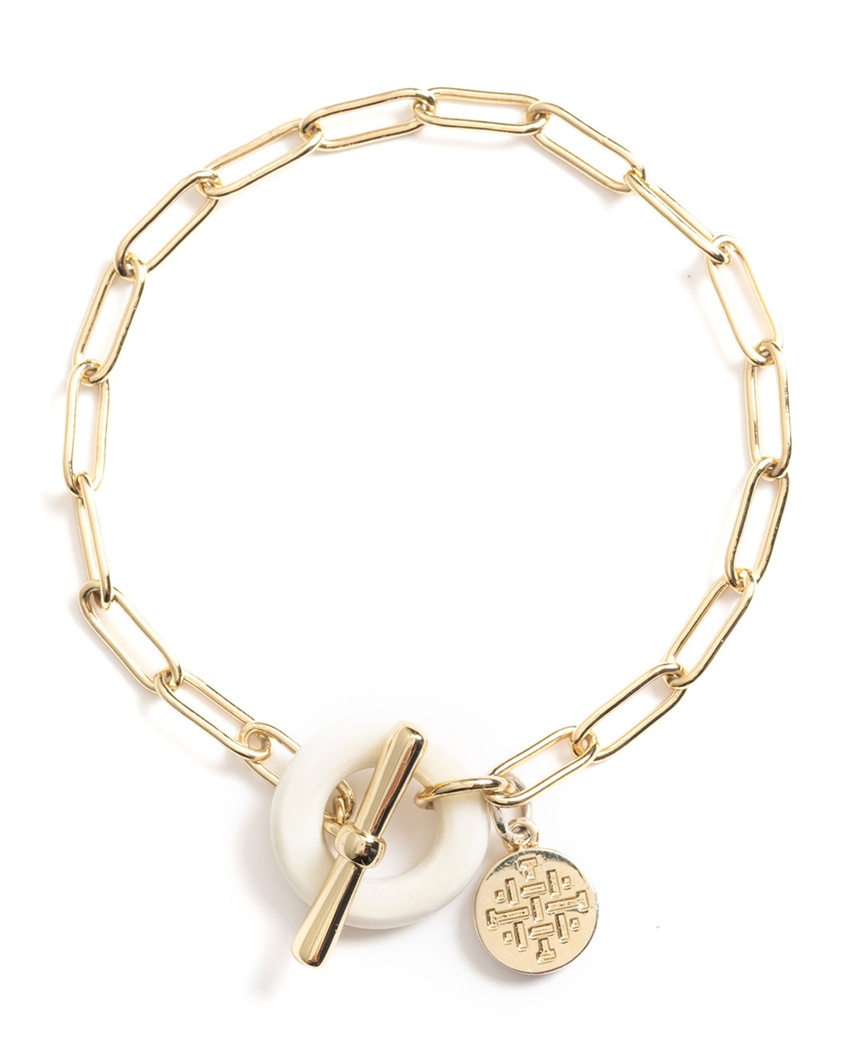 Clover Paperclip Chain Toggle Bracelet