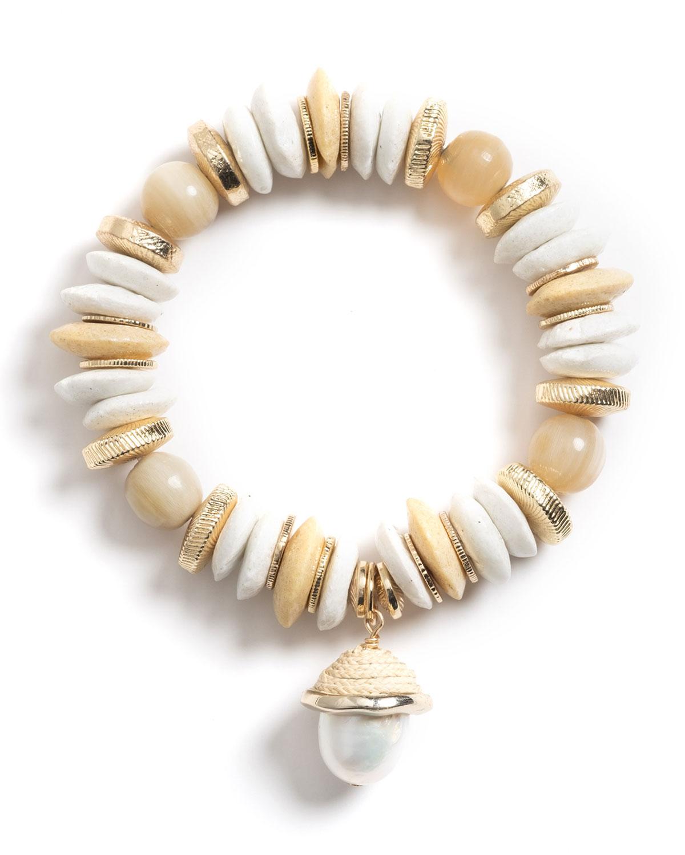 Aster Baroque Pearl Charm Bracelet