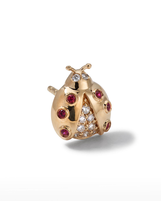 Sydney Evan 18K GOLD RUBY DIAMOND LADYBUG STUD EARRINGS