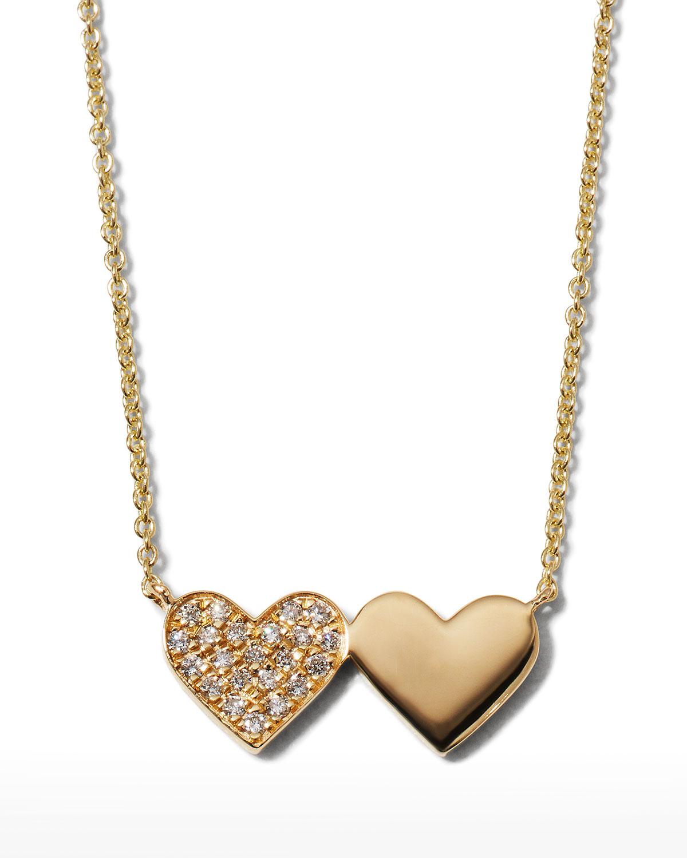Sydney Evan 14K GOLD DOUBLE HEART PENDANT NECKLACE