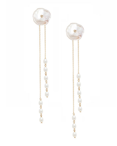 Vintage inspired long pearl earrings with silver floral cap and brass chain