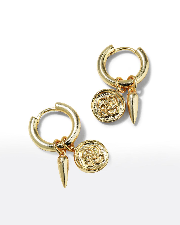 Dira Coin Huggie Earrings