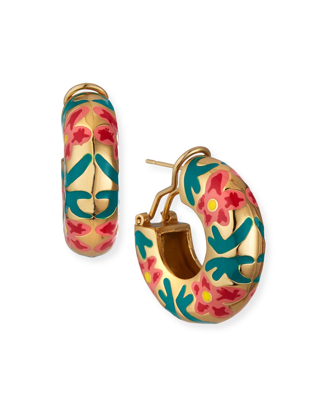 Hibiscus Flora Hoop Earrings