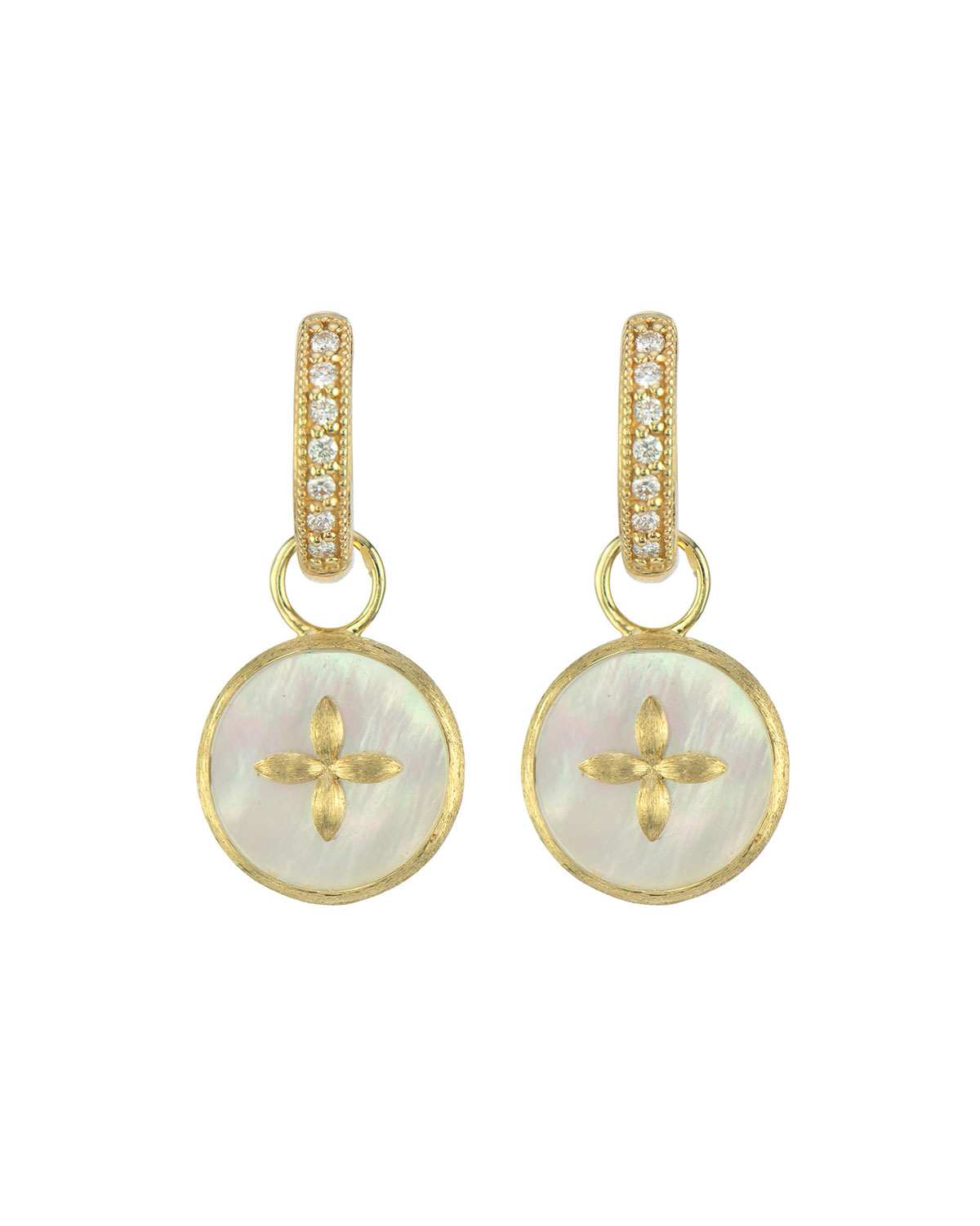 Moroccan Cross and Mother-of-Pearl Earring Charms