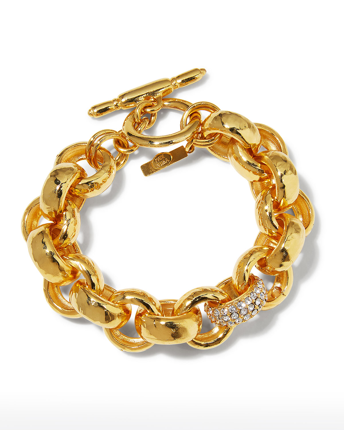 Textured and Pave Link Bracelet