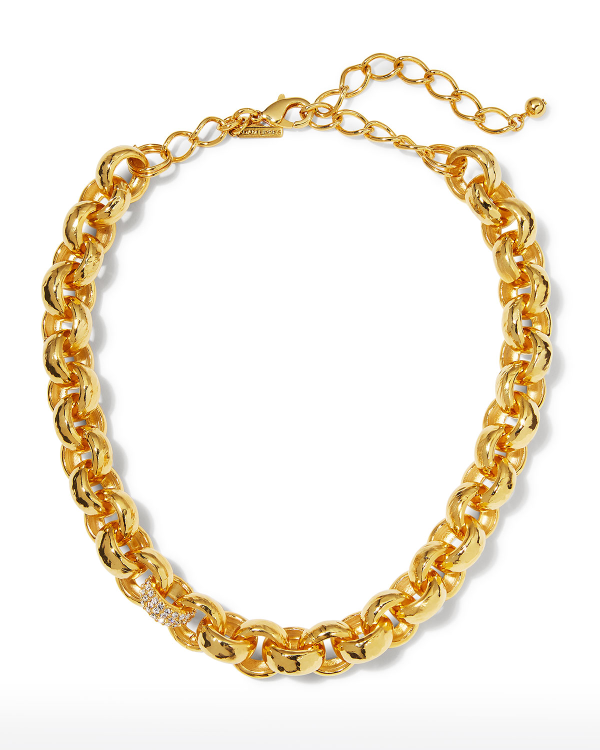 Textured and Pave Link Necklace