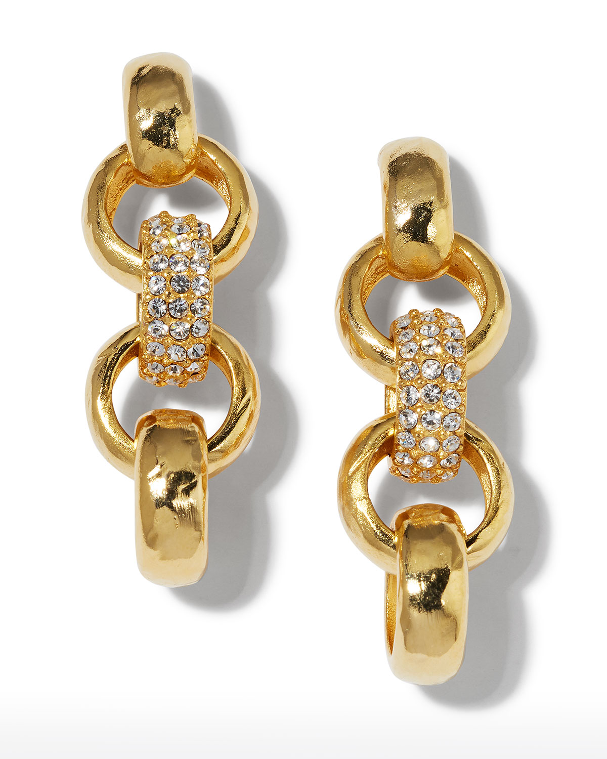 Textured and Pave Link Earrings
