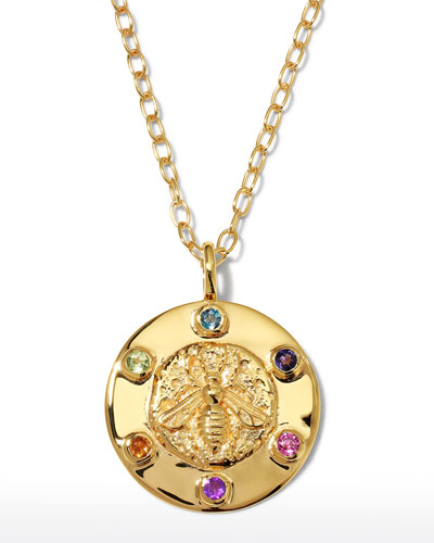 Delicate 24k gold necklace with Amethyst rounds and Peach Quartz accents.