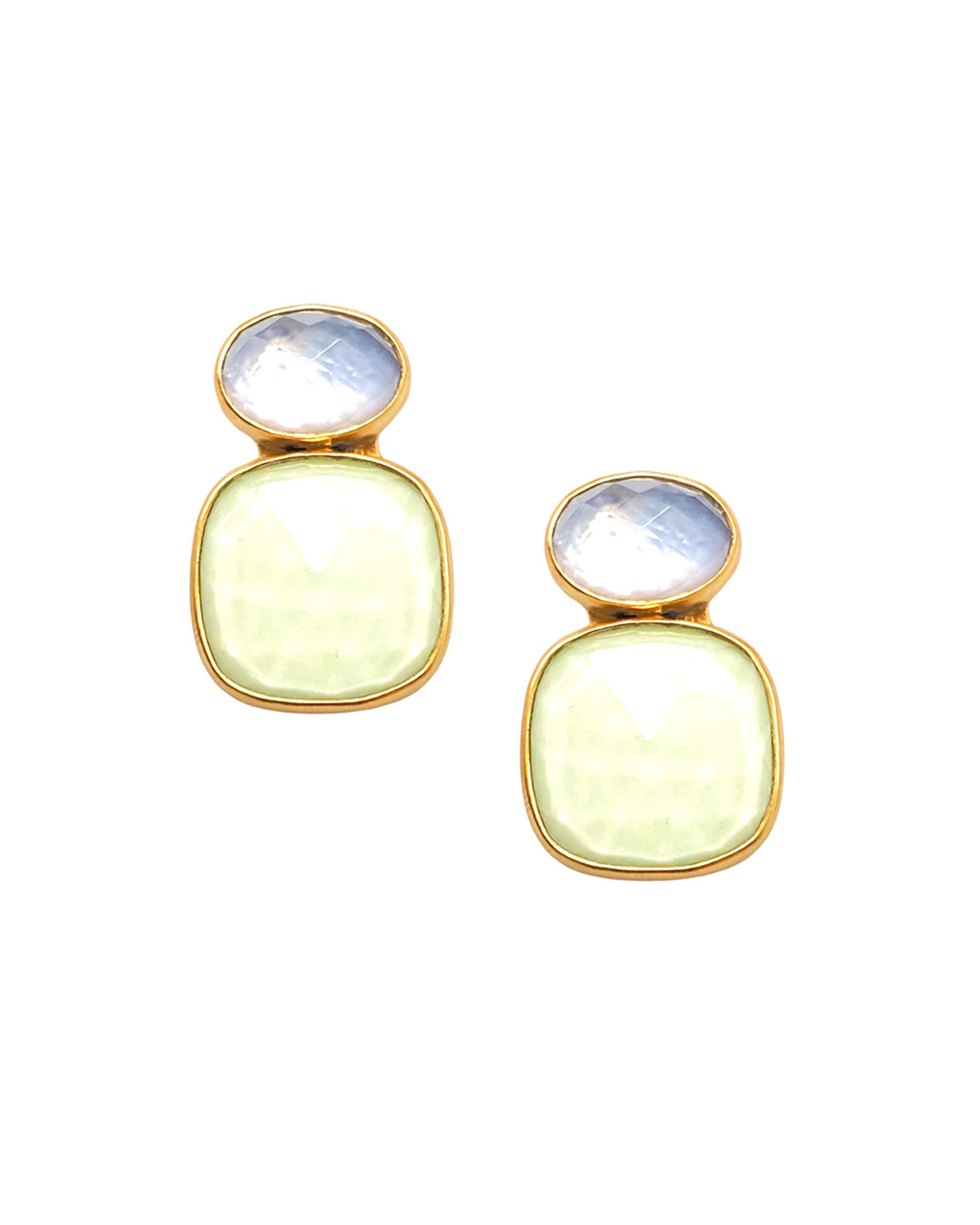 Chrysoprase and Mother-of-Pearl Doublet Earrings