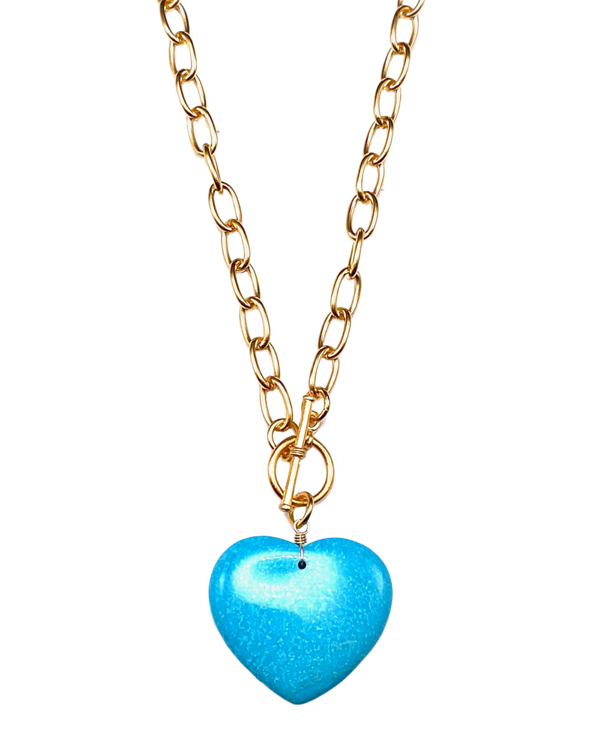 Turquoise Heart on Gold Chain Necklace