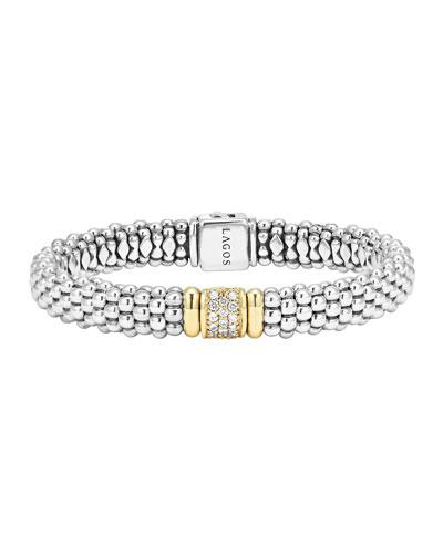 Silver Caviar Bracelet with 18k Gold, 9mm