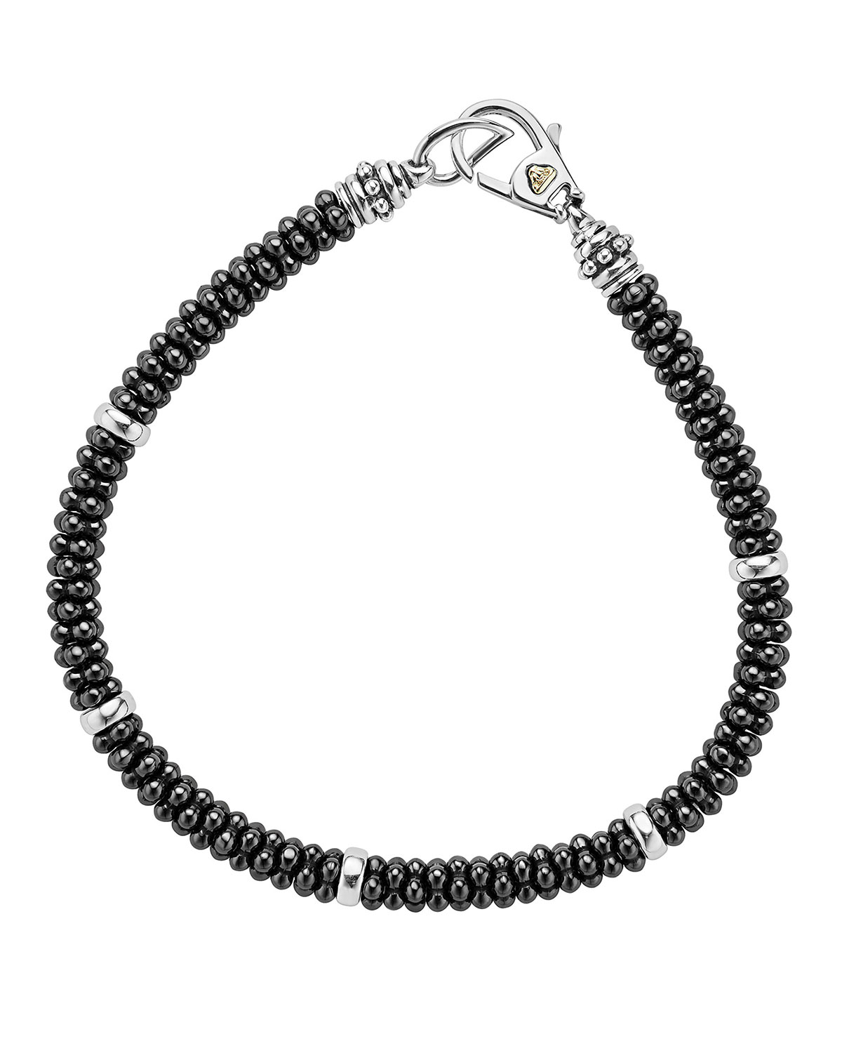 Lagos Accessories CERAMIC BLACK CAVIAR BEADED BRACELET, 7""
