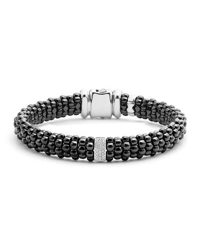 Black Caviar Bracelet with Diamond Station