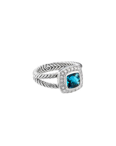 Petite Albion Ring w/ Diamonds & Hampton Blue Topaz, Size 5-8