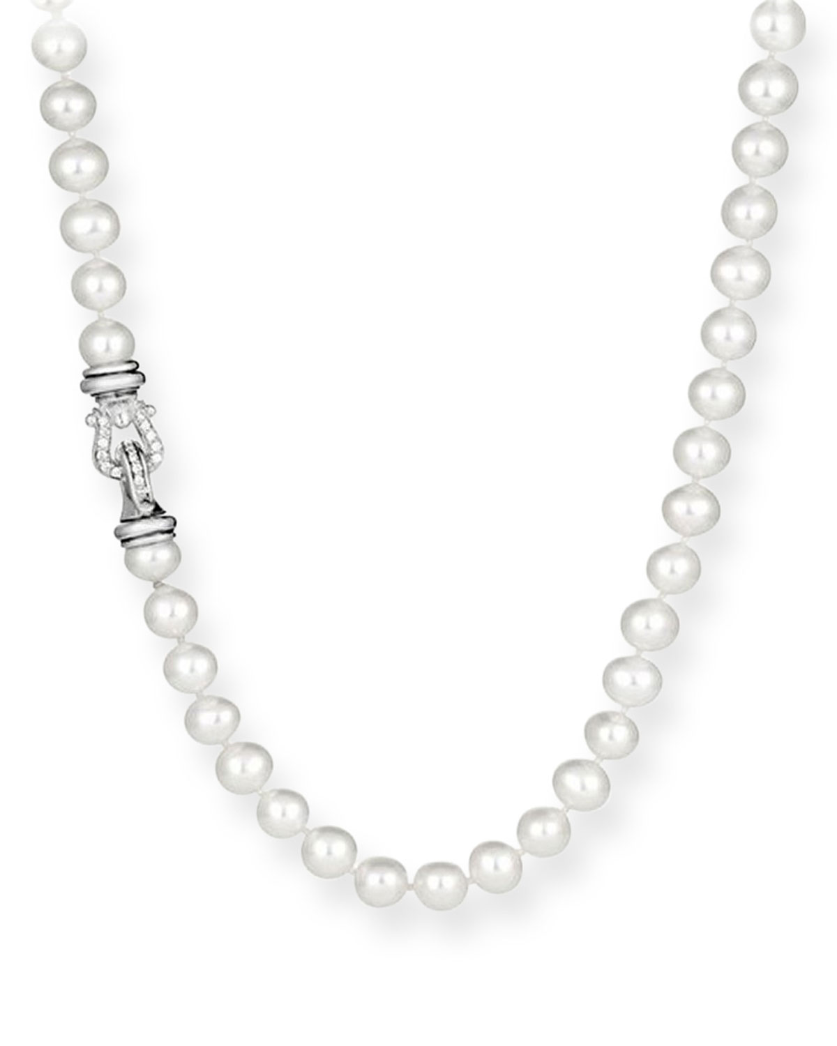 Pearl Necklace with Diamonds, 18