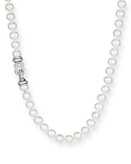 "David Yurman Pearl Necklace with Diamonds,  36"""