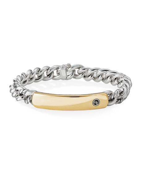 David Yurman 8mm Belmont Silver & Gold ID Bar Bracelet