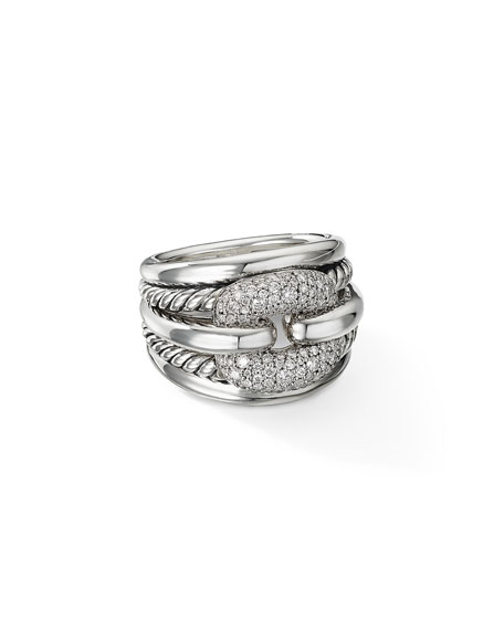 David Yurman Thoroughbred Cushion Link Ring with Diamonds, Size 9