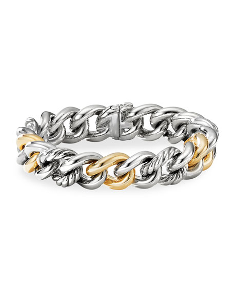 David Yurman Curb Chain Bracelet with 14K Yellow Gold, Size S and M