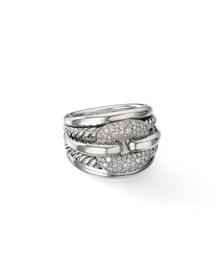David Yurman Thoroughbred Cushion Link Ring with Diamonds, Size 6