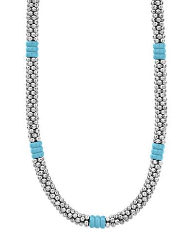 Blue Caviar Ceramic Station Necklace, 5mm