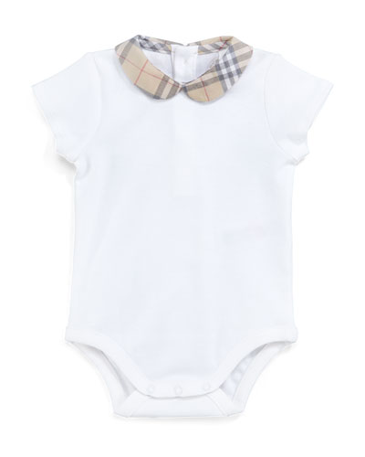 Izzy Cotton Bodysuit w/ Check Peter Pan Collar, Size Newborn-24M