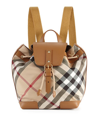 Girls' Check Backpack, Saddle Brown